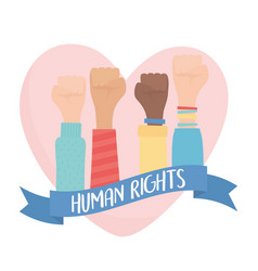 human rights hands raised in fist love heart vector image