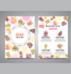 isolated creative background cards with flowers vector image