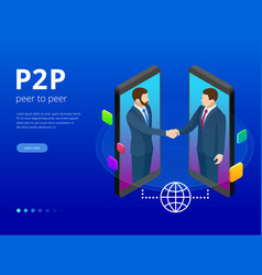 Isometric peer to peer and fintech concept two vector