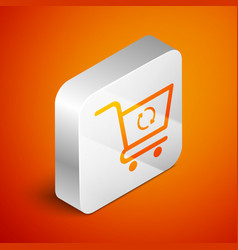 Isometric refresh shopping cart icon isolated on vector