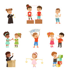Kind and fair little children set kids protecting vector
