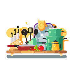 kitchen utensils design flat vector image