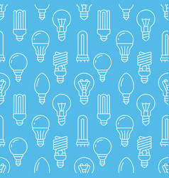 light bulbs blue seamless pattern with flat line vector image