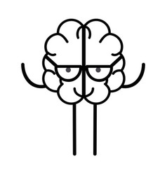 Line icon adorable kawaii brain with glasses vector