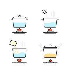 linear set of cooking porridge in stages on white vector image