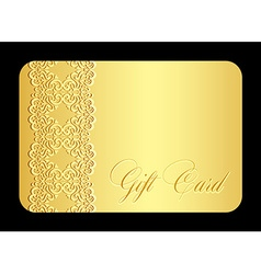 Luxury golden gift card with imitation of lace vector