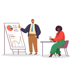 man and woman working in office presentation with vector image
