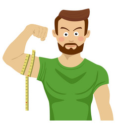 Man flexing bicep and measuring it with tapeline vector