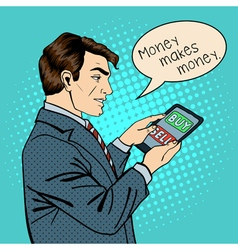 Man Holding Tablet Businessman at Work Pop Art vector