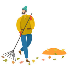 man sweeping foliage broom autumn weather vector image