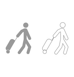 man with suitcase it is black icon vector image