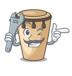 Mechanic conga mascot cartoon style vector