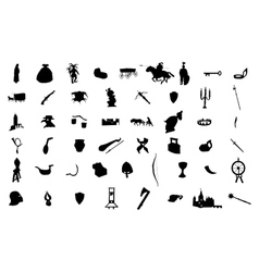 Medieval silhouettes set vector