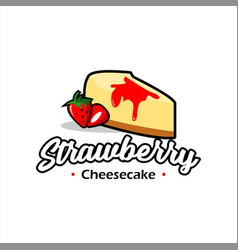 Modern cartoon strawberry cheesecake pastry vector