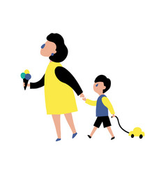 mom and boy vector image
