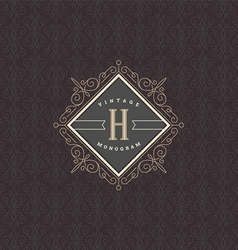 monogram logo template with flourishes vector image