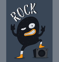 Monster rock design vector
