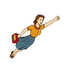 mother super hero pop art vector image