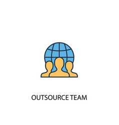 outsource team concept 2 colored icon simple blue vector image
