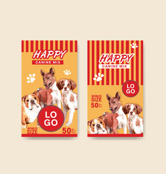 Packaging template with dogs and food design vector