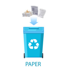 Paper waste with container vector