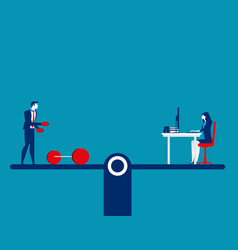 People balancing on exercise and working concept vector