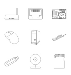 Personal computer set icons in outline style Big vector