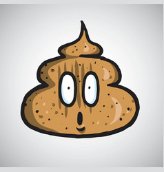 Poop surprised face emoji 404 vector