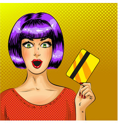 Pop art surprised woman with credit card vector
