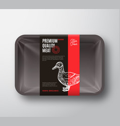 Premium quality duck meat package and label stripe vector
