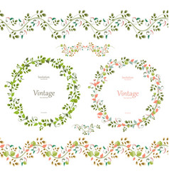 pretty floral collection cute set seamless vector image