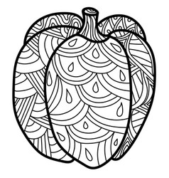 Pumpkin with fantasy patterns ornate coloring vector