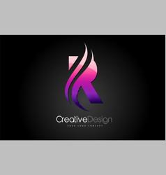 purple violet r letter design brush paint stroke vector image