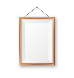 realistic hanging on a wall blank wooden picture vector image