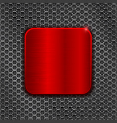 Red square plate on metal perforated background vector