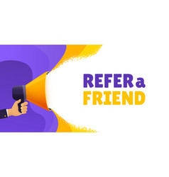 refer a friend banner hand holding vector image