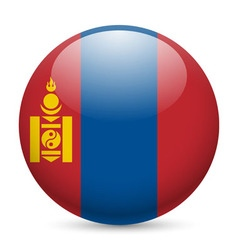 Round glossy icon of mongolia vector image