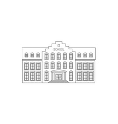 School building line drawing vector