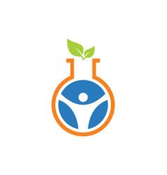 Science laboratory green leaf logo vector