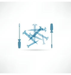 Screwdriver and screws repair icon vector
