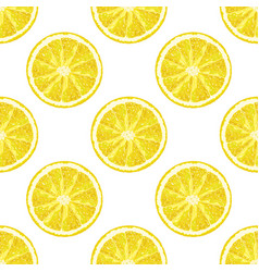 Seamless pattern of lemon slice realistic citrus vector