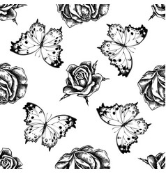 seamless pattern with black and white forest vector image