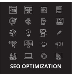 Seo optimization editable line icons set on vector