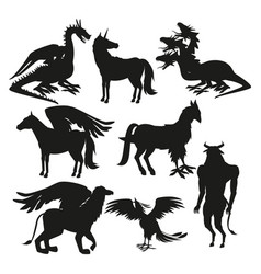 set black silhouette animal greek mythological vector image