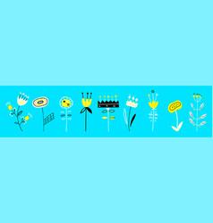 set flat spring floral icons set floral vector image