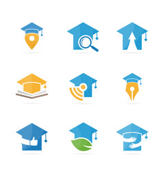 Set of graduate hat logo combination school and vector