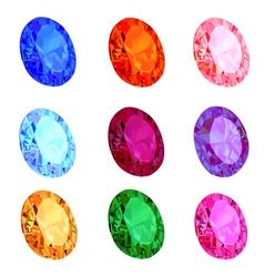 set of transparent gems on white vector image vector image