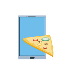 smartphone with delivery food app with pizza vector image