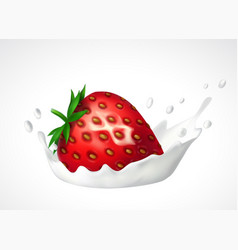 Strawberry and milk splash vector