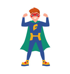 superboy or superchild cute boy wearing mask vector image